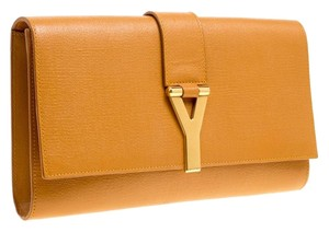 Saint Laurent Leather Tan Clutch