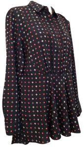 Thakoon Print Dots Flowy Floral High-low Top black