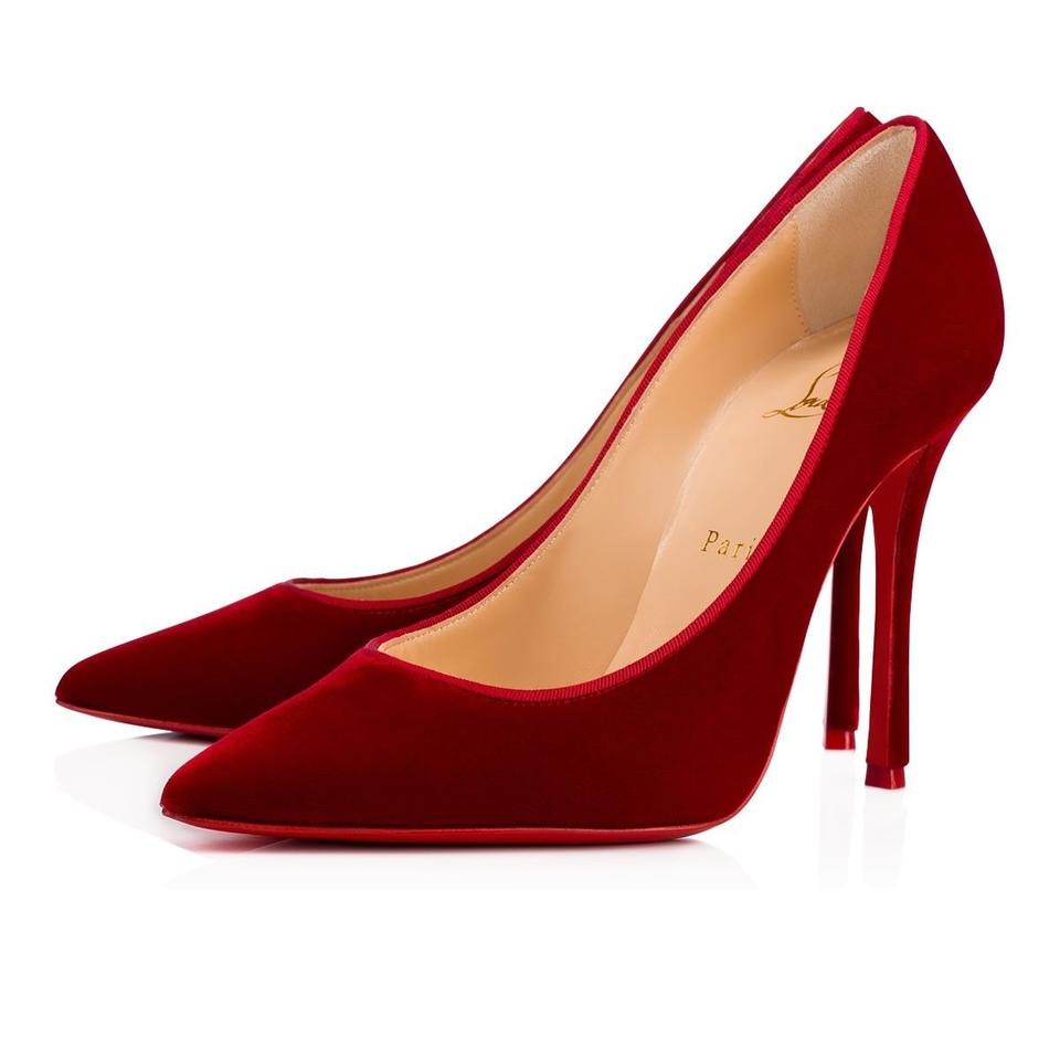 8a049818d463 Christian Louboutin Red Decoltish 100 Rosso Velvet Pointed Toe Stiletto  Classic Heel Pumps. Size  EU 35 (Approx.