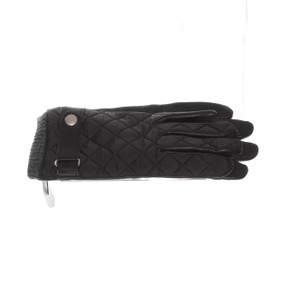 Bloomingdale's Bloomingdales Black Knit Leather Gloves L
