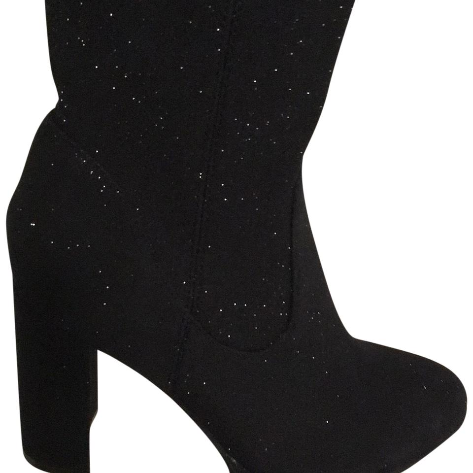 e92b9899863a Marc Fisher Black Glitter Thigh High Boots Booties Size US 7.5 ...