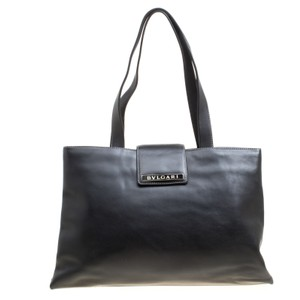 BVLGARI Leather Suede Tote in Black
