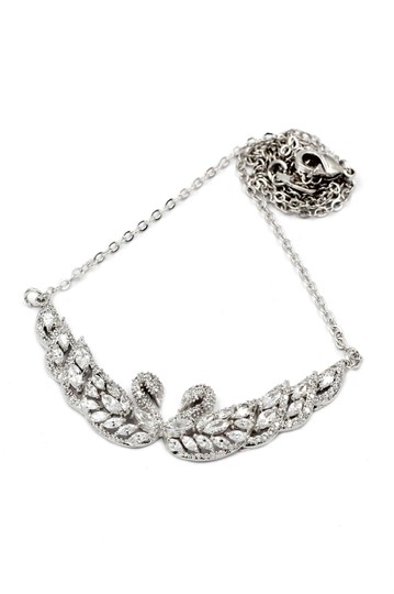 Ocean Fashion Sterling Silver Beautiful twin swan necklace Image 1
