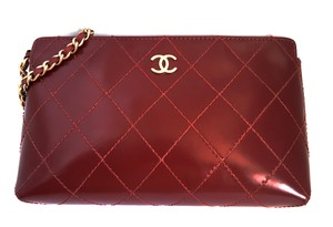 Chanel Patent Wristlet Burgundy Clutch