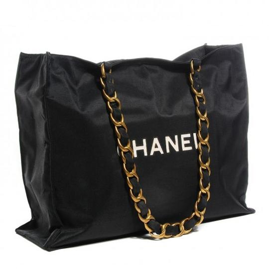Chanel Vintage Canvas Tote in Black Image 2