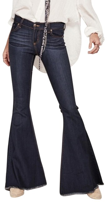 Free People Super Stretchy Flare Leg Jeans-Dark Rinse Image 1