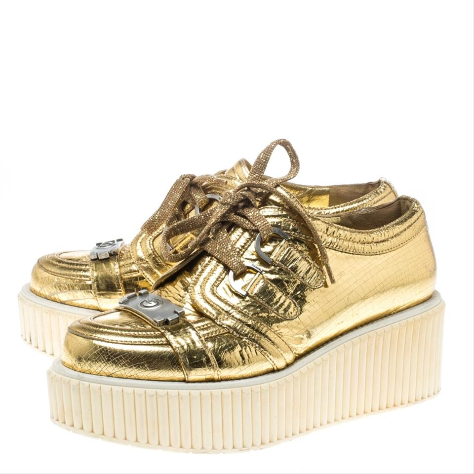 3e43a0bf3f0 Chanel Yellow Metallic Gold Distressed Foil Leather Creepers ...