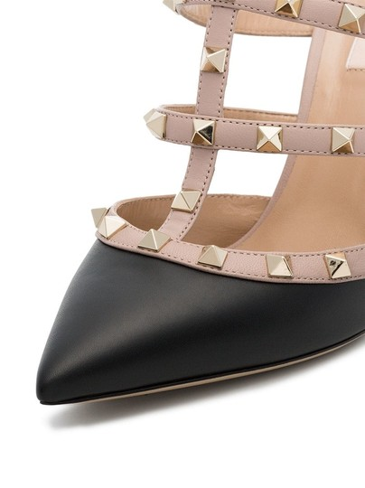 Valentino Studded Pointed Toe Leather Ankle Strap Branded Insole black Pumps Image 6