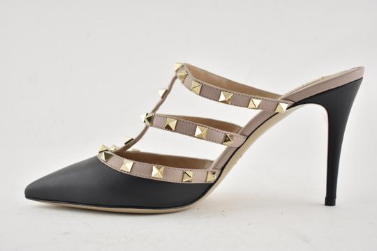 Valentino Studded Pointed Toe Leather Ankle Strap Branded Insole black Pumps Image 8
