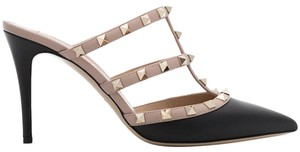 Valentino Studded Pointed Toe Leather Ankle Strap Branded Insole black Pumps
