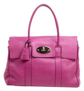 Mulberry Leather Suede Satchel in Fuchsia Pink