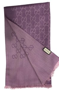 Gucci New Gucci Women's Purple Wool Silk GG Scarf Shawl 45cm X 180cm
