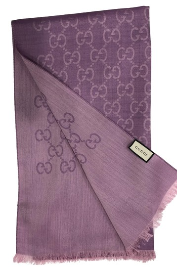 Preload https://img-static.tradesy.com/item/24406065/gucci-purple-new-women-s-wool-silk-gg-shawl-45cm-x-180cm-scarfwrap-0-1-540-540.jpg