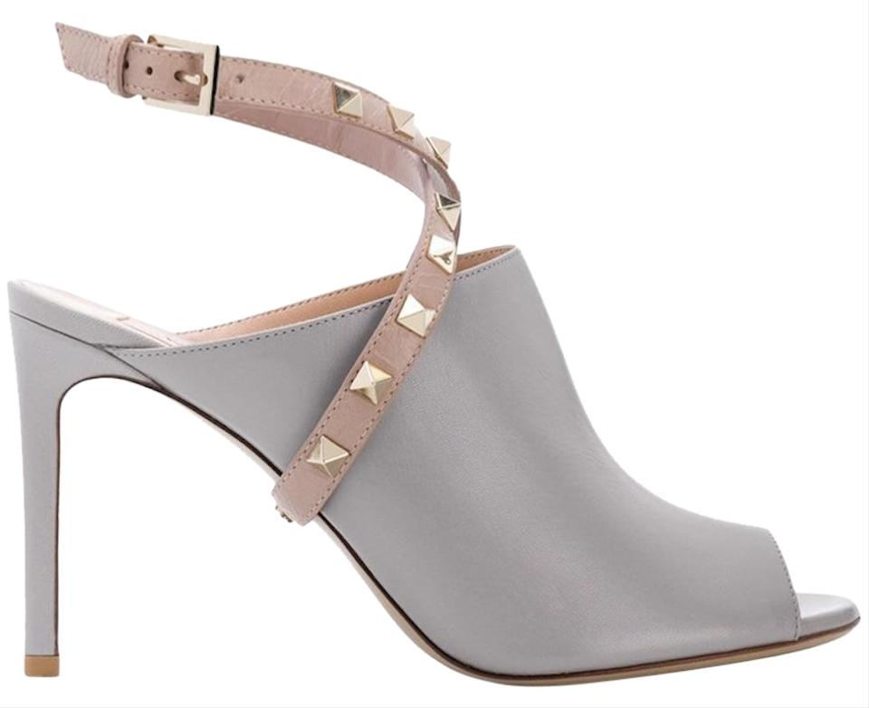 239549cadef Valentino Studded Pointed Toe Leather Ankle Strap Branded Insole grey Pumps  Image 0 ...
