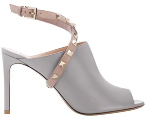Valentino Studded Pointed Toe Leather Ankle Strap Stiletto grey Pumps