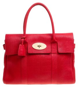 Mulberry Leather Suede Satchel in Red