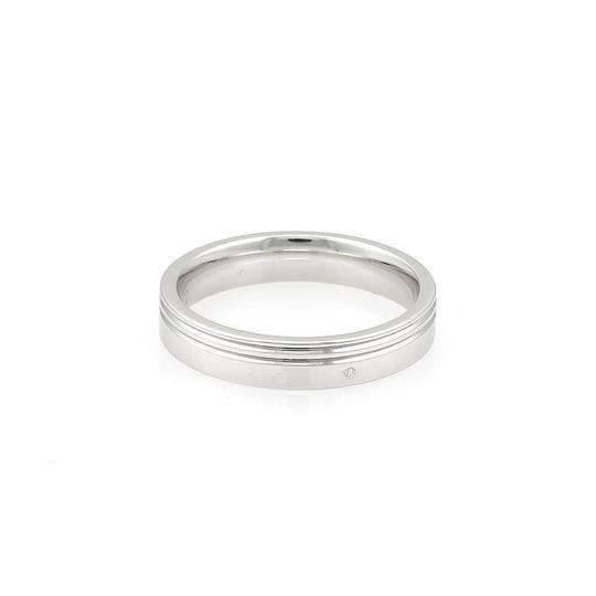 Hermès 18k White Gold 4mm Wide Grooved Band Ring Image 1