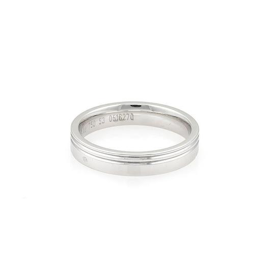 Hermès 18k White Gold 4mm Wide Grooved Band Ring Image 3