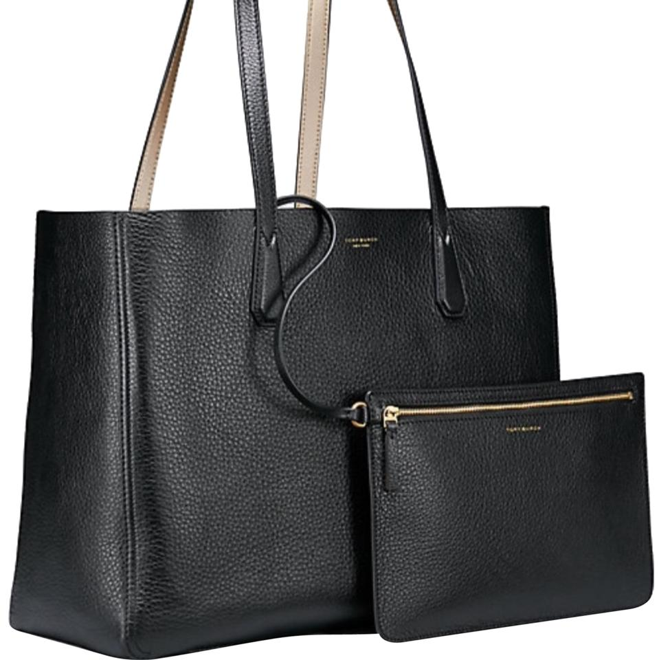 f2d11099a6 Tory Burch Perry Reversible with Removable Pouch Black Gold Metallic Smooth Leather  Tote
