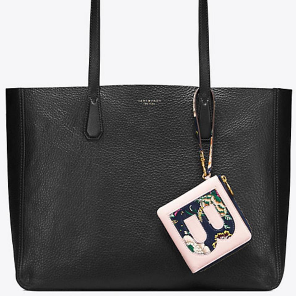 d1d283ec6975 Tory Burch Perry Reversible with Removable Pouch Black Gold Metallic Smooth Leather  Tote