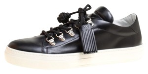 Tod's Leather Rubber Lace Black Flats