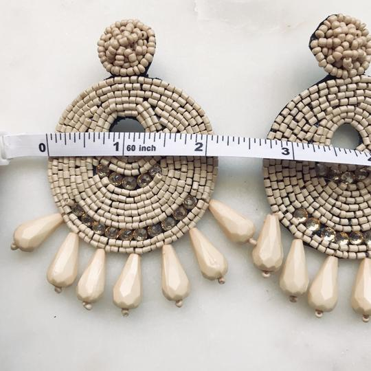 Unbranded Neutral Color Beaded Earrings Image 3