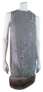 Norman Ambrose Sequin Iridescent Mink Fur Party Dress