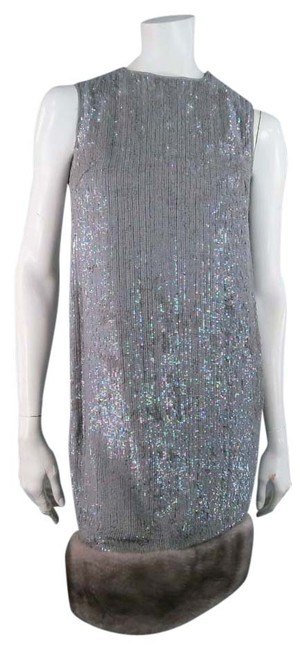 Norman Ambrose Sequin Iridescent Mink Fur Party Dress Image 0