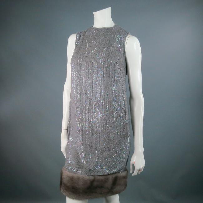 Norman Ambrose Sequin Iridescent Mink Fur Party Dress Image 1