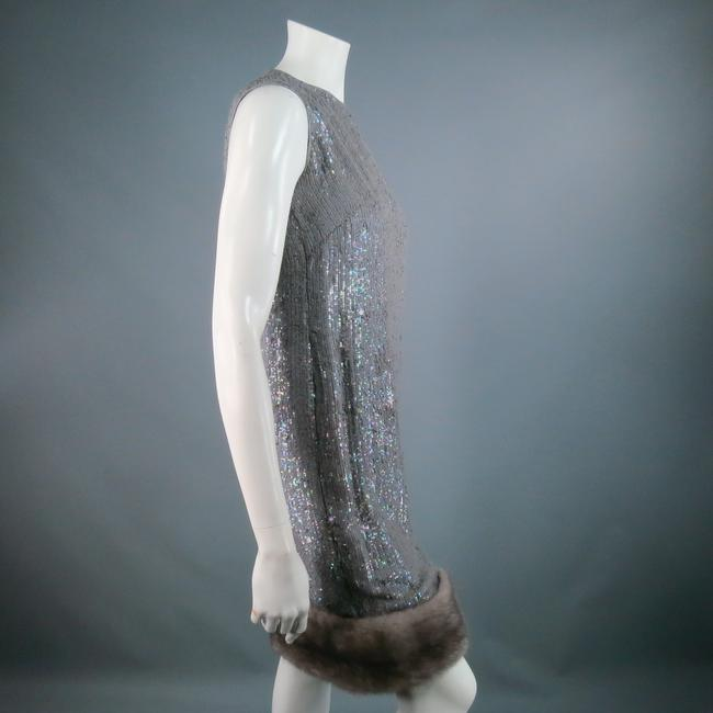 Norman Ambrose Sequin Iridescent Mink Fur Party Dress Image 4