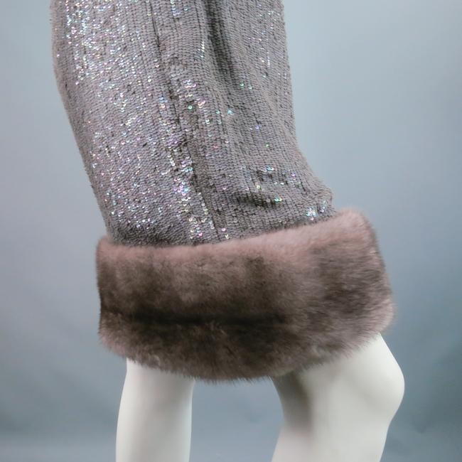 Norman Ambrose Sequin Iridescent Mink Fur Party Dress Image 5