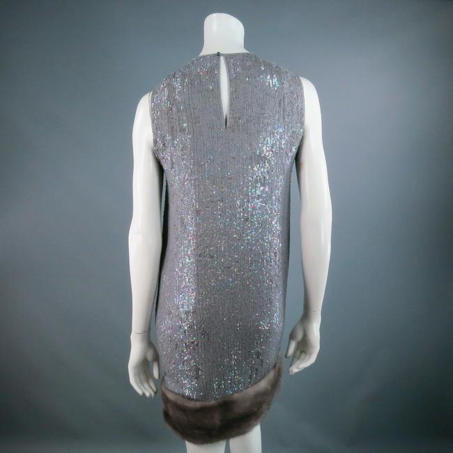Norman Ambrose Sequin Iridescent Mink Fur Party Dress Image 6