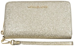 Michael Kors Michael Kors Gold Glitter Leather Flat Multifunction Phone Wallet