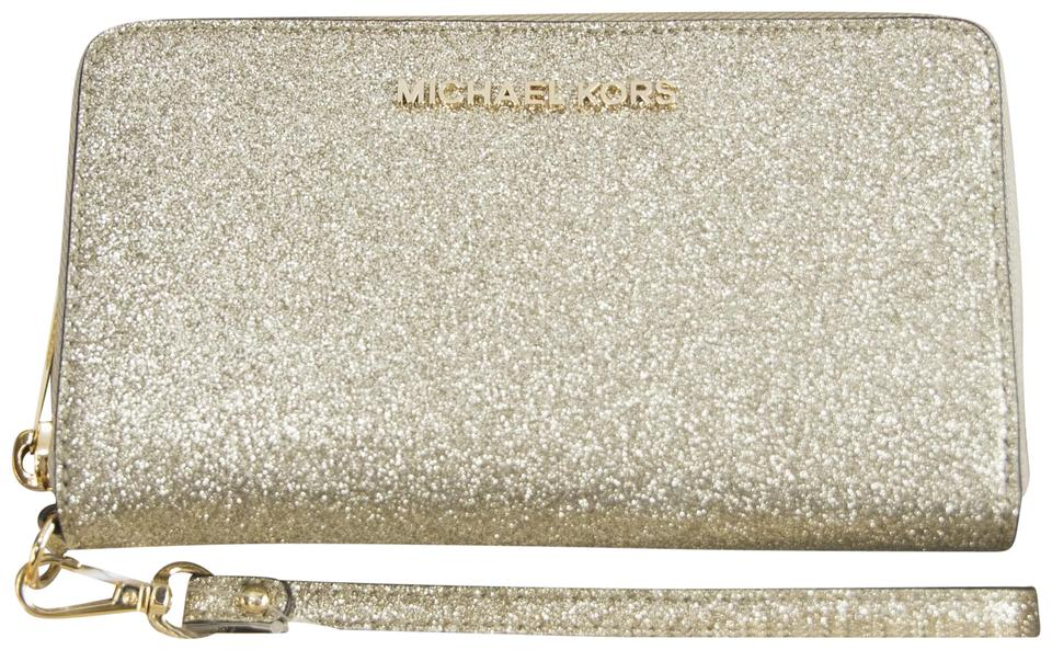 ba30840cad8 Michael Kors Gold Glitter Leather Flat Multifunction Phone Wallet ...