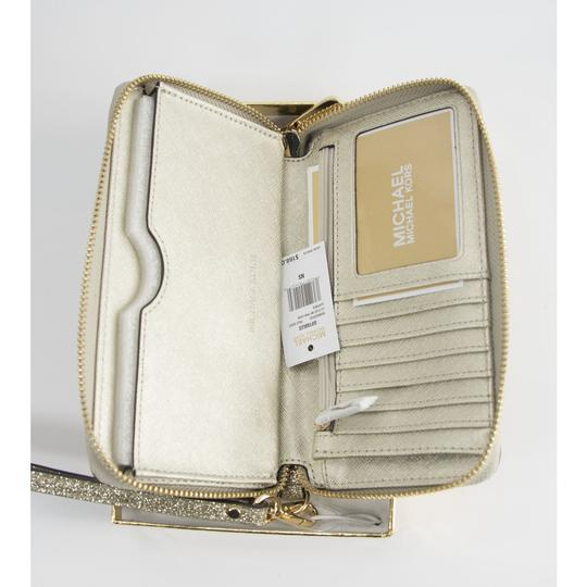 Michael Kors Michael Kors Gold Glitter Leather Flat Multifunction Phone Wallet Image 3