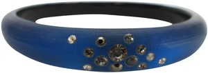 Alexis Bittar Royal Blue Crystal Classic Tapered Lucite Bangle Bracelet