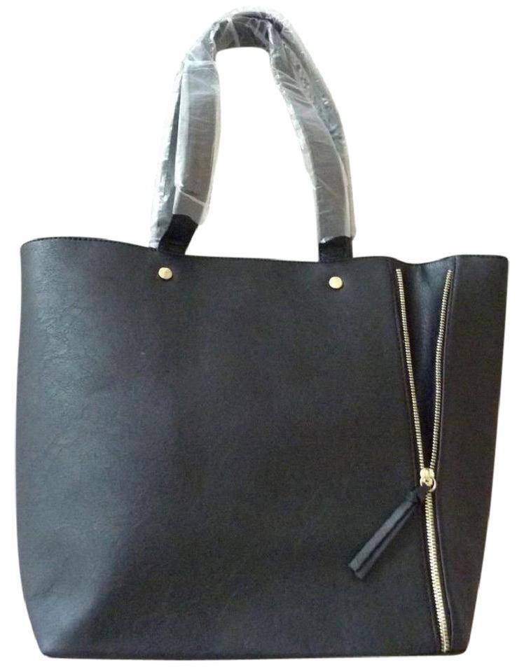 e09b1b6a9 Neiman Marcus Shopper Weekender Purse Black Faux Leather Tote - Tradesy