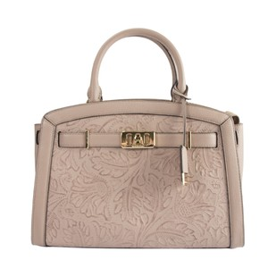 Michael Kors Leather Studded Saffiano Satchel in Pink