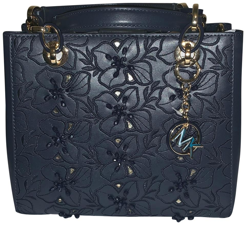 fc4d603dae2ef6 Michael Kors Cynthia Small Floral Embroidered Admiral Navy Leather ...