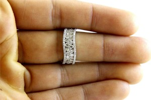Other Curve Diamond 2 Row Cluster Ring Band 14K White Gold 1.58Ct