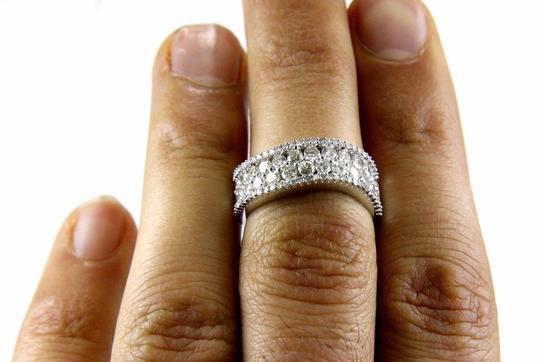 Other Curve Diamond 2 Row Cluster Ring Band 14K White Gold 1.58Ct Image 1