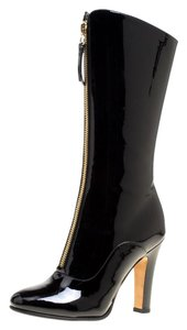 Valentino Patent Leather Midcalf Leather Black Boots