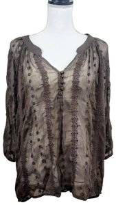 Olive + Oak Sheer Peasant Boho Lace Embroidered Top Brown
