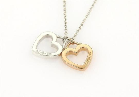 Tiffany & Co. Sterling & 18k Rose Gold Open Double Heart Pendant Necklace Image 2