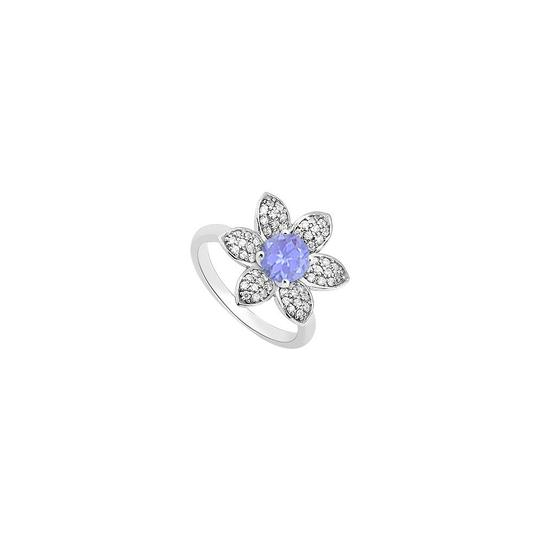 Preload https://img-static.tradesy.com/item/24406325/blue-created-tanzanite-and-cubic-zirconia-flower-fashion-in-14k-white-ring-0-0-540-540.jpg