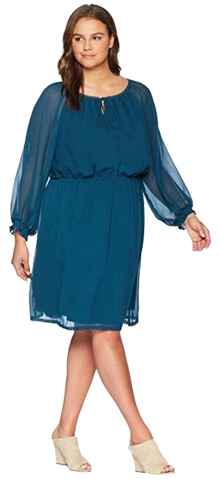 Adrianna Papell Midnight Jungle Blue / Green Long Sleeve Plus-size Blouson  Mid-length Work/Office Dress Size 14 (L) 50% off retail