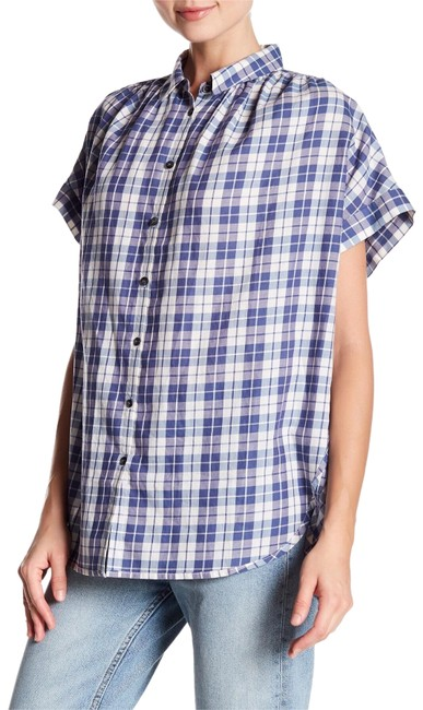 Preload https://img-static.tradesy.com/item/24406347/madewell-new-blue-and-white-plaid-central-linus-blouse-size-12-l-0-1-650-650.jpg