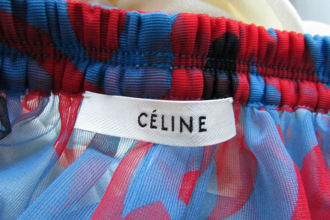 Red Blue Tulle Layered Maxi Dress by Céline Image 11