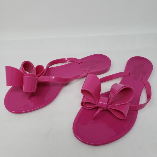Valentino Jelly Bow Rockstud Lace Gold Hardware Pink Sandals Image 11