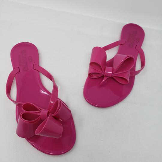 Valentino Jelly Bow Rockstud Lace Gold Hardware Pink Sandals Image 2